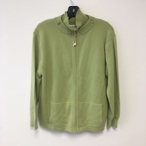 St. John by Marie Gray Green Cashmere Cardigan Set